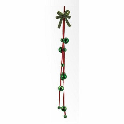 """Napco 3' x 4.75"""" Red and Green Jingle Bell with Star Cutouts Hanging Artificial Christmas Ornament"""
