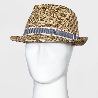 Men's Mixed Color Fedora Hat with Navy Band - Goodfellow & Co™ Brown L/XL