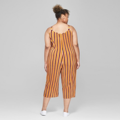 184cbe29123d Women s Striped Plus Size Strappy Scoop Neck Pleated Knit Jumpsuit - Wild  Fable™ Yellow   Target