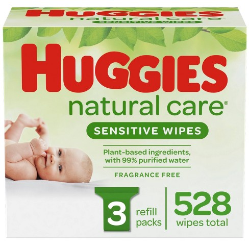 Huggies Natural Care Sensitive Baby Wipes, Unscented Refill Packs - 3pk/528ct - image 1 of 4
