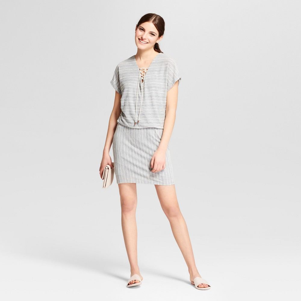 Women S Textured Knit Lace Up Dress Vanity Room Gray Xl