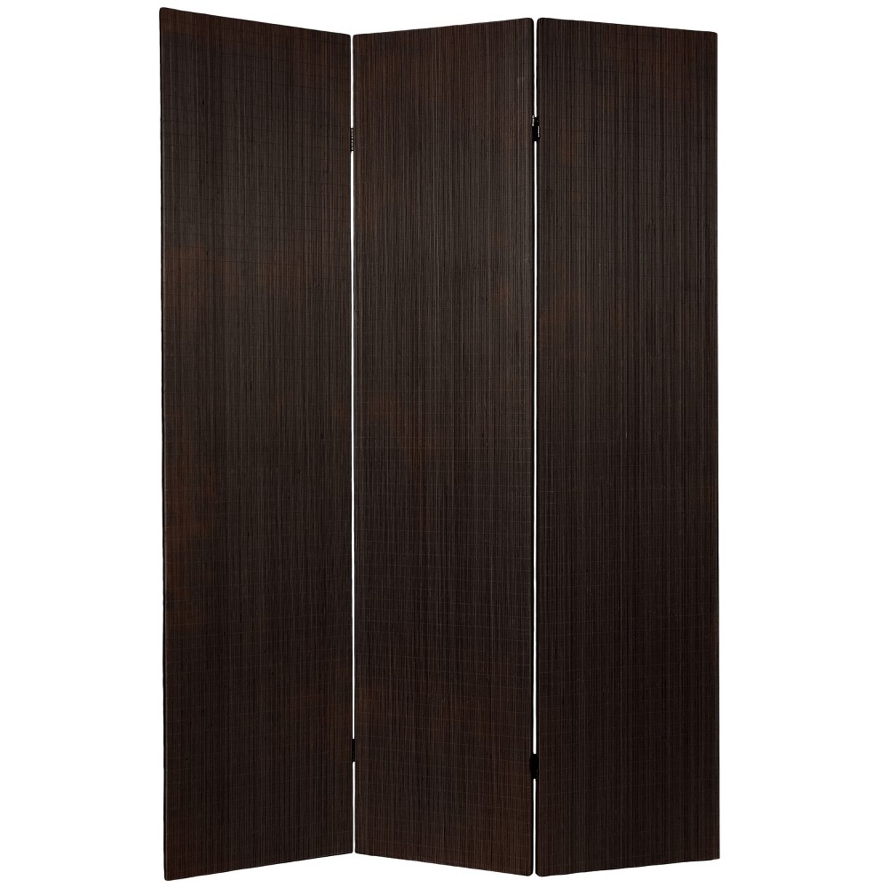 Oriental Furniture 6' Tall Frameless Bamboo Room Divider 3 Panels Black