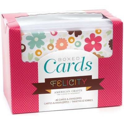 """American Crafts A2 Cards W/Envelopes (4.375""""X5.75"""") 40/Box-Felicity"""