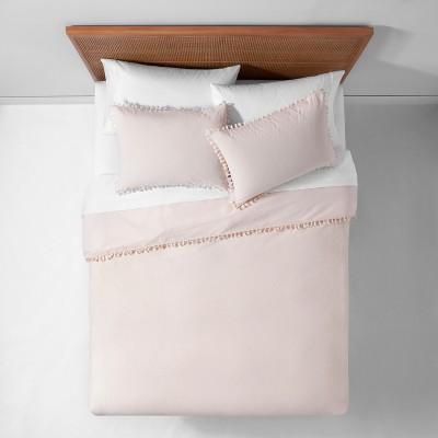 Peach Yarn Dyed Tassel Trim Duvet Cover Set (Full/Queen)- Opalhouse™