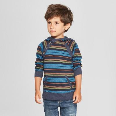 Genuine Kids® from Oshkosh Toddler Boys' Raglan Sleeve Striped Hooded Sweatshirt - Blue 18M