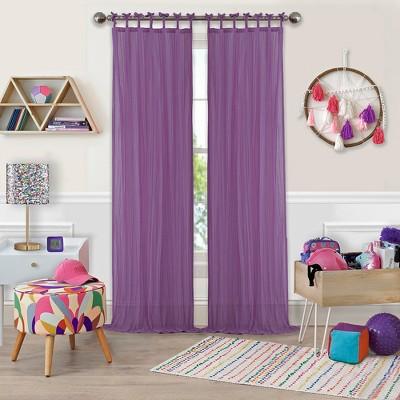 Greta Crushed Sheer Kids Window Curtain Panel - Elrene Home Fashions