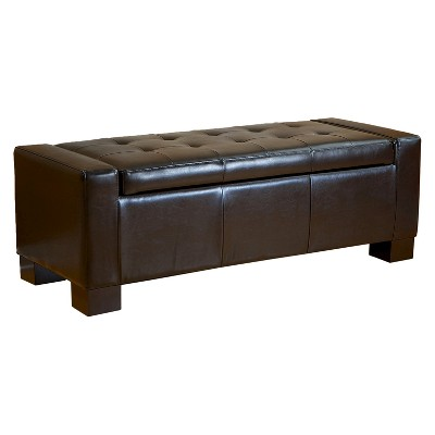 Guernsey Leather Storage Ottoman Bench Black - Christopher Knight Home