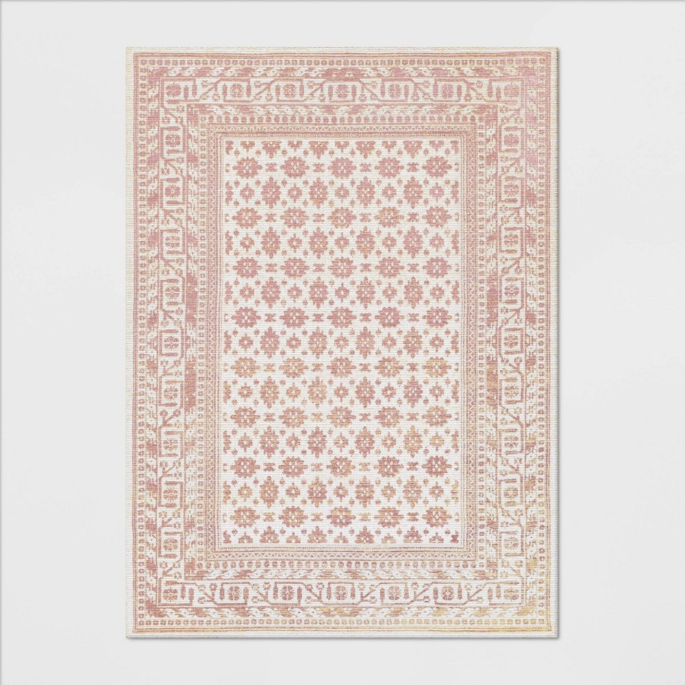 5'X7' Indoor/Outdoor Floral Woven Area Rug Blush - Threshold