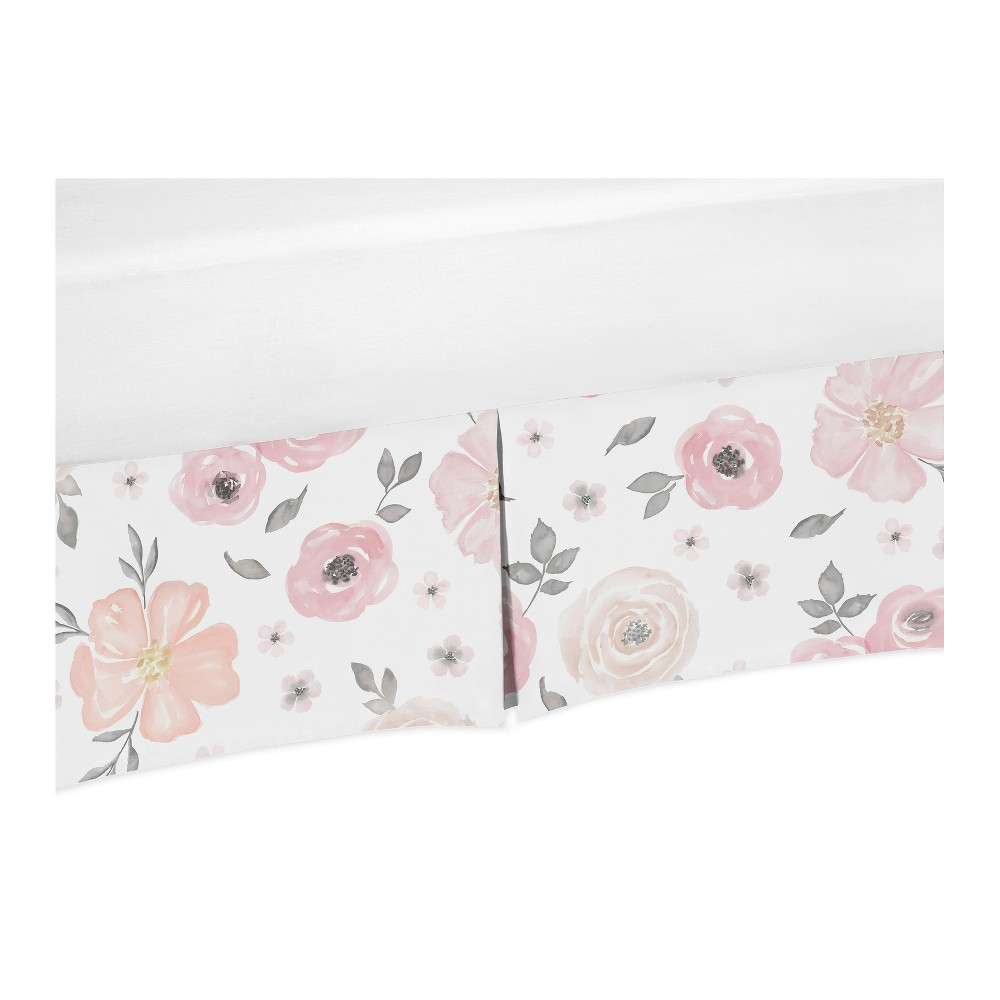 Image of Sweet Jojo Designs Pink and Gray Watercolor Floral Crib Bed Skirt
