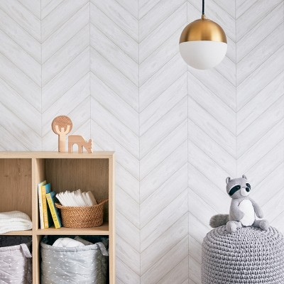 Peel & Stick Wallpaper Textured Herringbone Gray - Cloud Island™