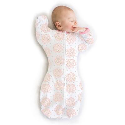 SwaddleDesigns Transitional Swaddle Sack Wearable Blanket - Pink Heavenly Floral - M - 3-6 Months
