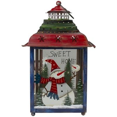 Northlight Red, Green and Blue Snowman Christmas Candle Lantern 15""