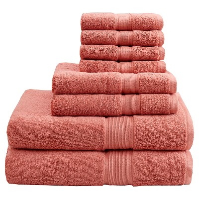 8pc Bath Towel Set Coral