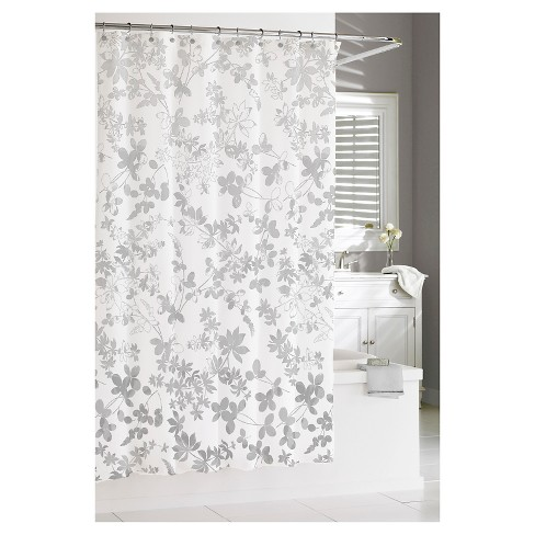Floral Ombr Shower Curtain Gray