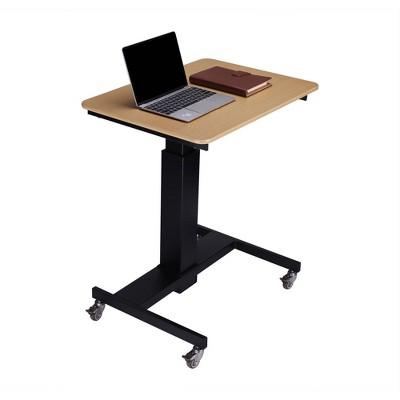 "28"" Height Adjustable Mobile School Standing Desk Natural - Rocelco"