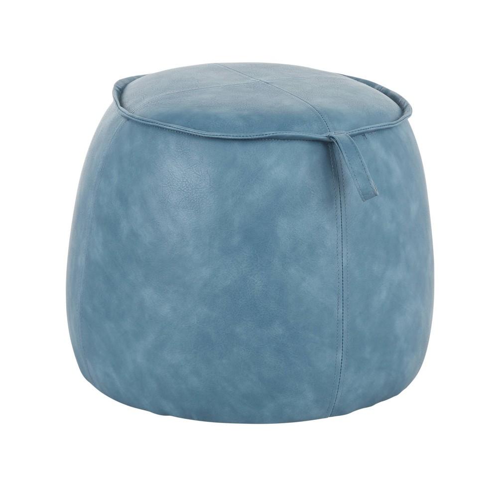Round Contemporary Ottoman Blue Lumisource
