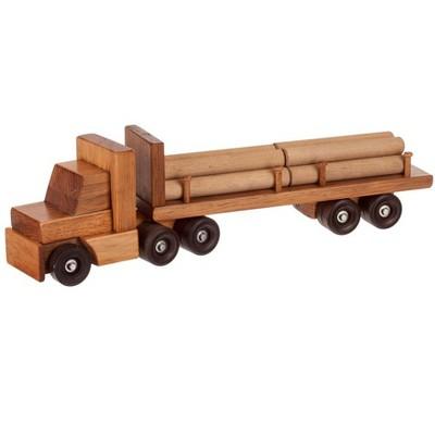 Remley Kids Wooden Log Trailer Truck Playset w/ Logs