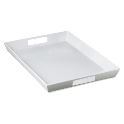 "Large Handled Serving Tray 13.5""x19"" Set of 2 Melamine White - Room Essentials™ - image 1 of 2"