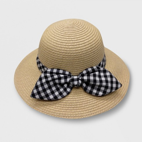 Baby Girls  Gingham Bow Bucket Floppy Hats - Cat   Jack™ Beige 12 ... b8c6b08d9c0