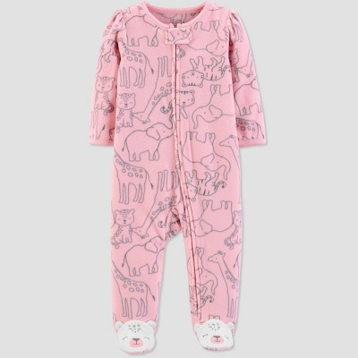 Baby Girls' Sleep 'N Play Safari 1pc Pajama - Just One You® made by carter's Pink Newborn