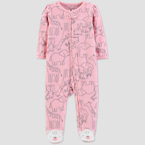 Baby Girls' Sleep 'N Play Safari 1pc Pajama - Just One You® made by carter's Pink - image 1 of 1