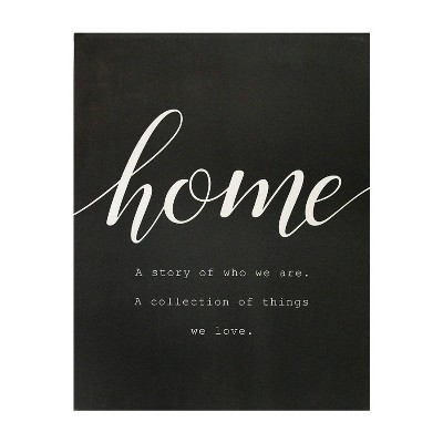 """23.62"""" x 30.31"""" Home is Quote Oversized Wall Art White - Stratton Home Décor"""