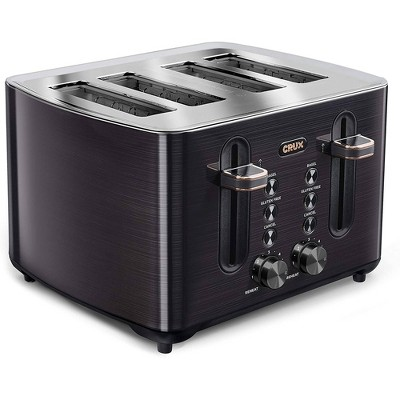 Crux 4 Slice Toaster Black SS