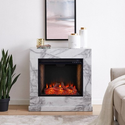 Dridun Faux Marble Fireplace with Alexa Firebox White/Gray - Aiden Lane