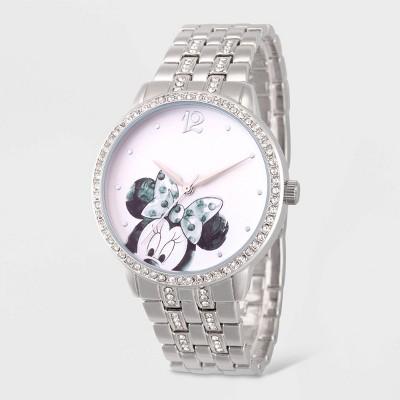 Women's Disney Minnie Mouse Glitz Bracelet Watch - Silver