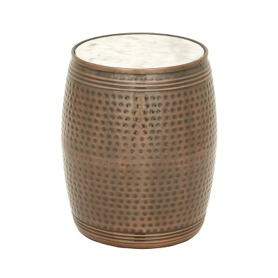 Farmhouse Drum Style Side Table Brown - Olivia & May