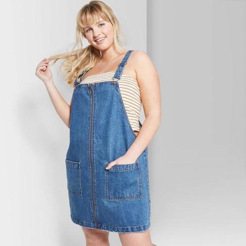 Women\'s Plus Size Sleeveless Zip Front Denim Pinafore Mini Dress - Wild  Fable™ Medium Wash