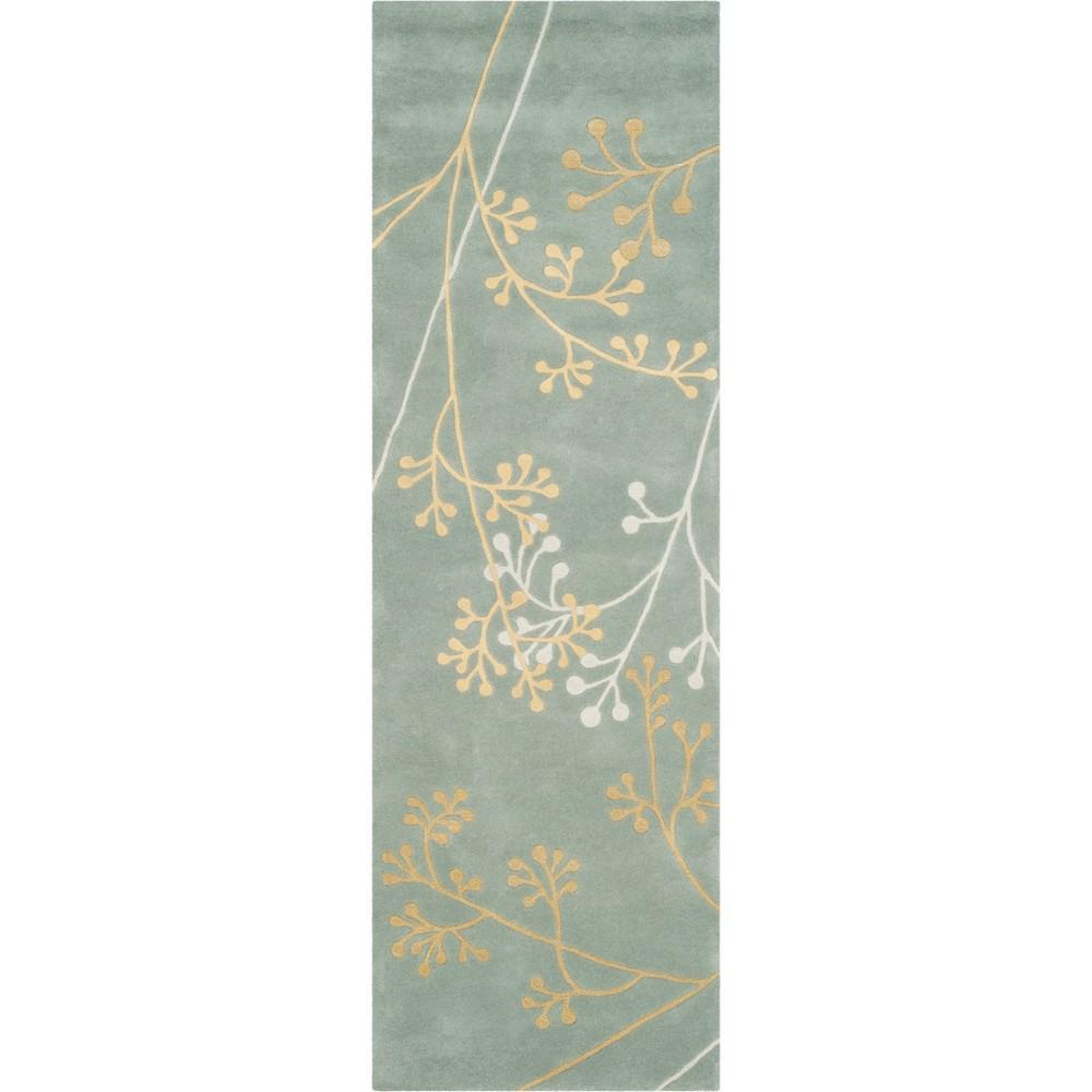 2'6X10' Floral Tufted Runner Light Blue/Light Gray - Safavieh