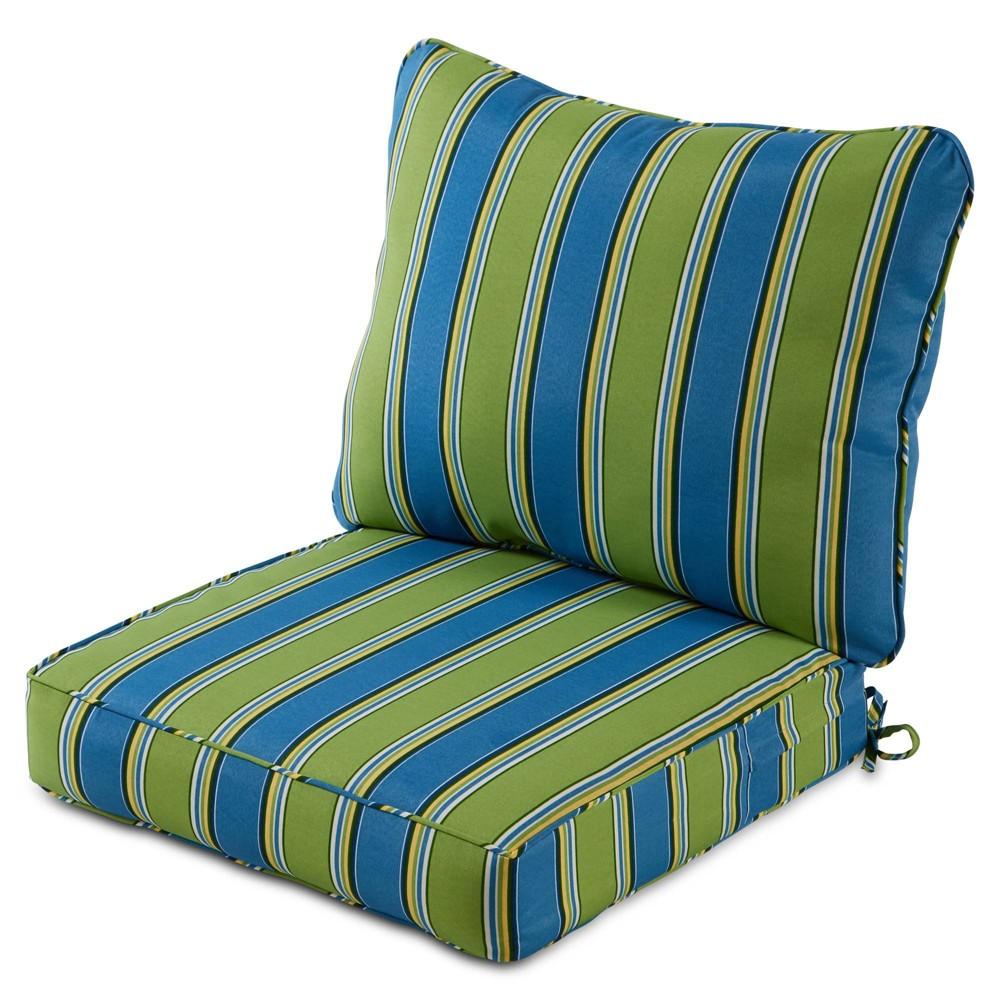 Image of 2pc Outdoor Deep Seat Cushion Set Cayman Stripe - Kensington Garden