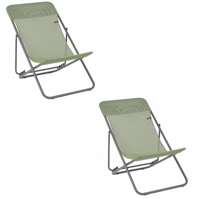 Lafuma Maxi Transat 4 Position Recline, Lockable Angle Folding Outdoor Camping Steel Batyline Mesh Sling Lounge Chair, Moss Green (2 Pack)