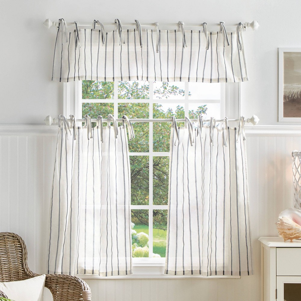 "Image of ""36""""x56"""" Laguna Striped Sheer Valence and Curtain Set Gray - Martha Stewart"""