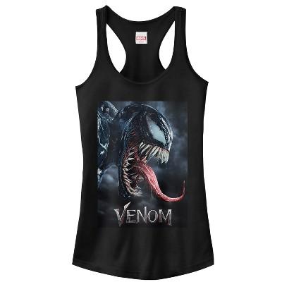 Junior's Marvel Venom Film Tongue Portrait Racerback Tank Top