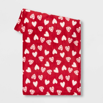 Plush Valentine's Day Hearts Throw Red/Cream -Spritz™