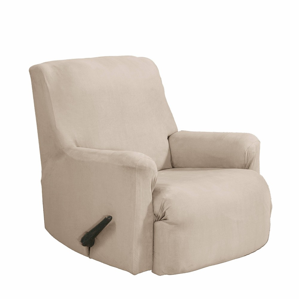 Image of 2pc Recliner Stretch Fit Slipcover Ivory - Serta
