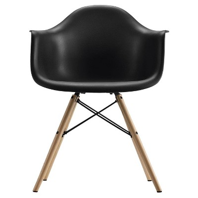 Mid Century Modern Molded Arm Chair With Wood Leg - Black - Dorel Home Products