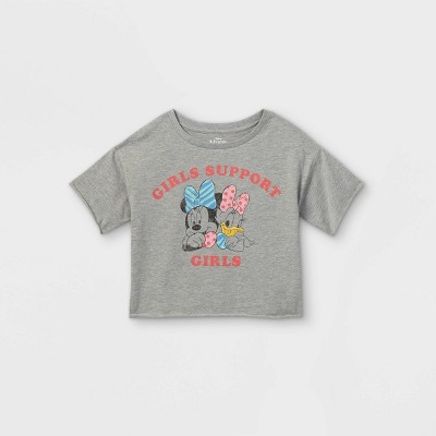 Girls' Disney Mickey Mouse & Friends 'Girls Support Girls' Short Sleeve Cropped T-Shirt - Gray