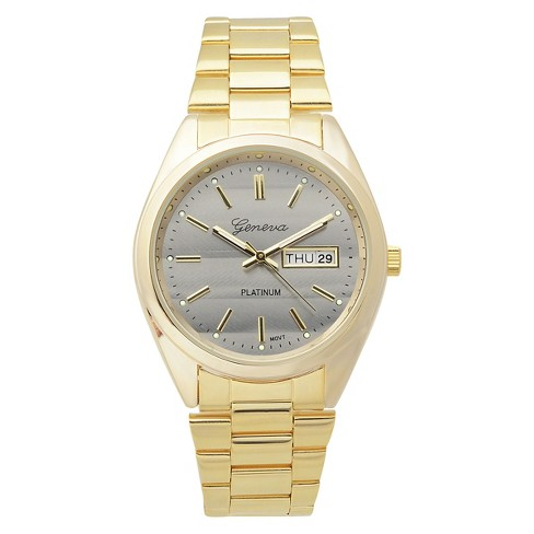 Women's  Geneva Platinum  Classic Round Face Shiny Metal Link Watch - Gold/Black - image 1 of 3