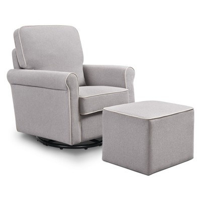 DaVinci Maya Swivel Glider and Ottoman - Gray/Cream