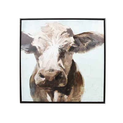 "24"" x 24"" Cow Stretched Unframed Canvas Brown/Blue - New View"