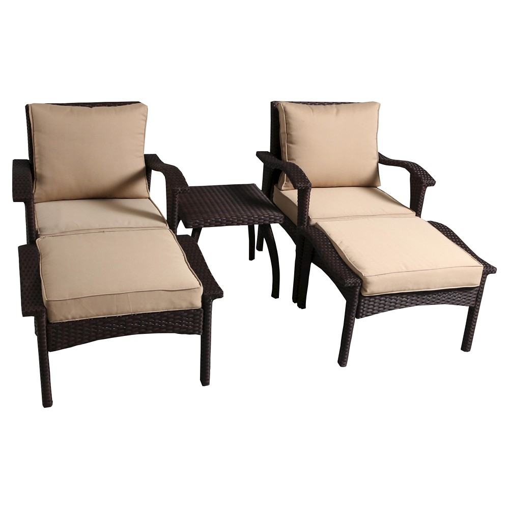 Honolulu 5pc Wicker PatioSeating Set with Cushions - Brow...