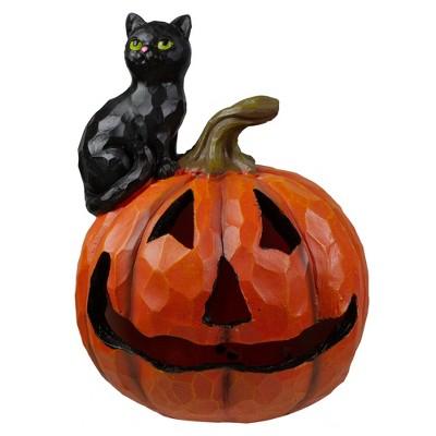 "Northlight 10"" LED Lighted Jack-O-Lantern and Black Cat Tabletop Halloween Figure"