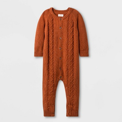 Baby Boys' Bobble Cable Romper - Cat & Jack™ Orange 0-3M