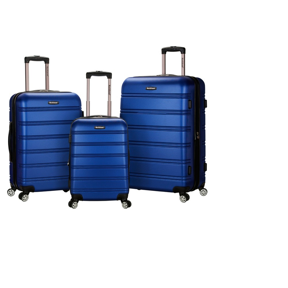 Rockland Melbourne 3pc Expandable Abs Spinner Luggage Set Blue