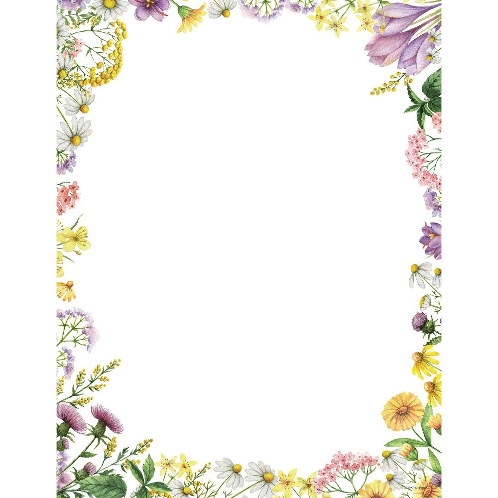 80ct Flower Meadows Letterhead White - Great Papers!