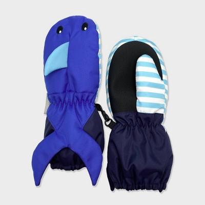 Toddler Boys' Shark Cuff Ski Mittens - Cat & Jack™ Blue 2T-5T