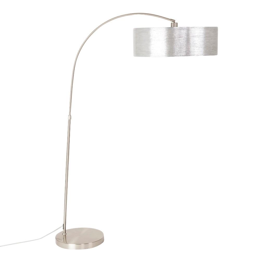 Best Yosemite 1 Light Arc Floor Lamp Lamp Only Satin Steel With Starlight Weave Shade Light Steel